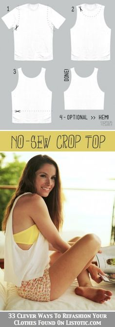 DIY No-Sew Crop Top Creative idea, need to do this to turn old t-shirts into workout tops!
