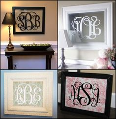 Monogram Fancy Scroll Initials Vinyl Wall Decal Sized for 16x20 frame or mirror. $22.00, via Etsy.