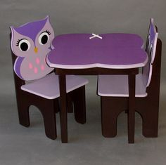 Chalkboard Owl Little Girls Table and Owl by GreatCustomFurniture