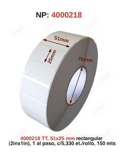 transferencia termica , 51x25mm rectangular (2inx1in), 1 al paso, c/5,330 et./rollo, 150 mts., 4000218