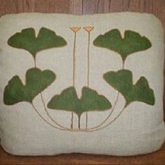 Stickley Ginko Embroidered pillow on linen