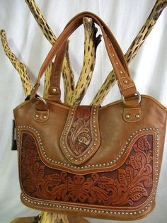 Genuine Tooled Pu Leather Montana West Brown Western Style Purse Handbag