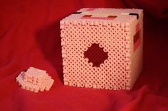 Perler Hama Minecraft Pig Inspired Piggy Bank with Removable Plug by BraveDeity