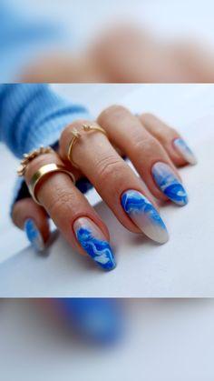 Pink Tip Nails, Aycrlic Nails, Hot Nails, Cute Acrylic Nails, Acrylic Nail Designs, Blue Nail Designs, Stylish Nails, Trendy Nails, Garra