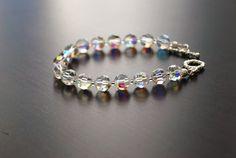 Faceted Clear AB Austrian Crystal Beaded Bracelet