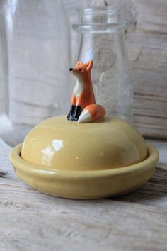 Custom Handmade Pottery Fox Mini Cheese Dish by Tasha McKelvey - made to order! Just the right size to hold goat cheese or a small chunk of your