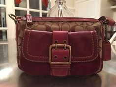 Love these colors! Coach Signature C's canvas and leather handbag