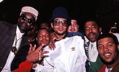 Hip-hop pioneer Fab Five Freddy, Special K, DMC, Oran 'Juice' Jones and Erik Blamoville (1988).