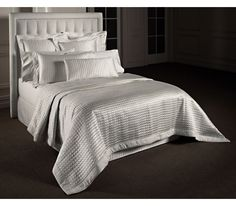 Millenia Plus bedspread in quilted white silk satin, pillowcases, cushions and bed skirts Luxury Bedspreads, White Bedspreads, Quilted Bedspreads, Bed Linen, Linen Bedding, White Satin, Silk Satin, Seat Pads, Modern Room
