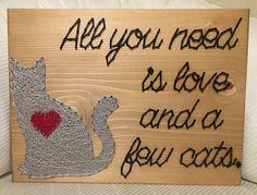 All you need is love and a few cats  #etsy #etsylove #etsyshop #kiwistrings #stringart #nailart #threadart #handmade #handmadewithlove  #cat  #lovestringart #loveart #shopetsy #shopsmall #homedecor #wallart  #woodart #heart #catart #kitty #allyouneedislove #allyouneediscats #catlove #crazycatlady #catlady #graycatsofinstagram #graycatsrule #graycats #graycatsofig