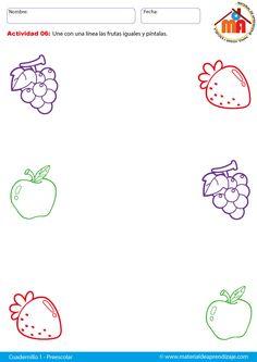 Une las frutas iguales: Preescolar
