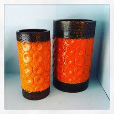 Bitossi Torcello vases. Aldo Londi. Mid century Italian pottery.