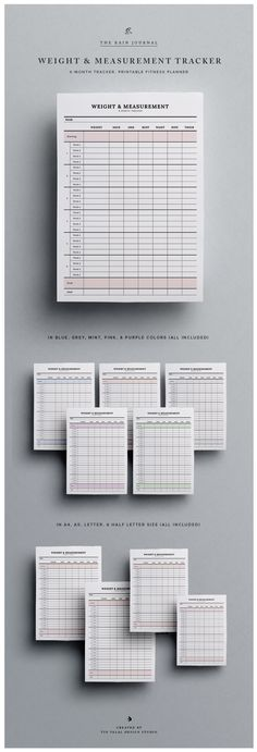 The Weight & Measurement Tracker. Fitness Planner Printable by The Rain Journal.