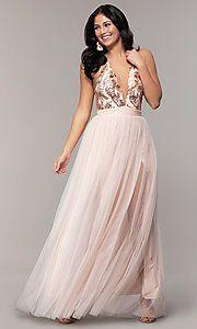 Long Prom Dress with V-Neck Sequin Halter Bodice. Glitter Prom Dresses, Navy Prom Dresses, Prom Dresses With Pockets, Open Back Prom Dresses, Backless Prom Dresses, Designer Prom Dresses, Tulle Prom Dress, Party Dresses, Formal Dresses
