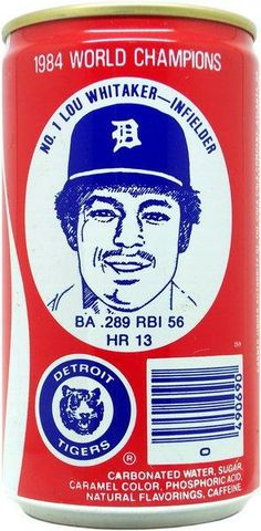 Coca-Cola can featuring Tom Brookens of the 1984 World Series Champion Detroit Tigers. Detroit Sports, Detroit Tigers Baseball, 1984 World Series, Old English D, Detroit Vs Everybody, Sports Advertising, Tigers Game, Baseball League, Baseball Players