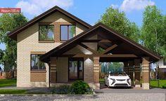 Проект дома C-100 - Проекты домов и коттеджей в Москве Tiny House Plans, House Floor Plans, Planer, My House, Gazebo, Indoor Outdoor, Outdoor Structures, Cabin, Rustic
