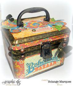 Beautiful Bohemian Bazaar altered trunk by Solange #Graphic45 #alteredart
