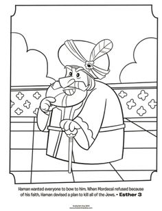 Kids coloring page from What's in the Bible? featuring Haman from Esther 3. Volume 7: Exile and Return!