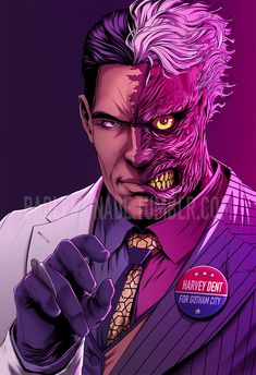 You really shouldn't vote for Harvey Dent. Not completely happy with the colors, so maybe in the future I'll do another version. Gotham Villains, Comic Villains, Dc Comics Characters, Dc Comics Art, Manga Comics, Batman Drawing, Batman Art, Batman Beyond, Batman Universe