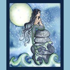 Tonight Mermaid & Moon Print from Original Watercolor Painting by Camille Grimshaw Real Mermaids, Mermaids And Mermen, Mermaid Drawings, Mermaid Artwork, Mermaid Paintings, Mermaid Swimming, Mermaid Fairy, Moon Print, Merfolk