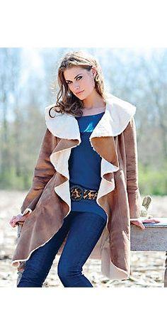 Tobacco Faux Shearling 40-inch Ruffled Coat | Fabulous-Furs LOVE LOVE LOVE this