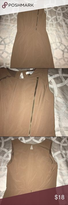 Super cute tan Forever21 short dress Super chic Forever21 sleeveless tan dress, with gold zipper detail in front and open back. Lightly used in great condition! ⚡️Fast shipping! ⚡️ Forever 21 Dresses Mini