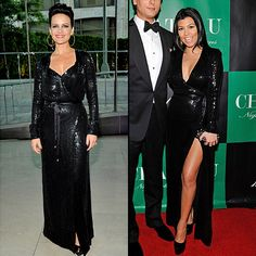 CARLA VS. KOURNEY  La actriz Carla Gugino y Kourtney Kardashian se rindieron ante este diseño en lentejuelas de la la colección de otoño 2011 de Diane von Furstenberg. Eso sí, Kourtney mostró escote y aprovechó la abertura en la falda para mostrar la pierna.