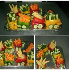 veggie train - saw pics of one that was set on toy train tracks. Would be cute for Christmas, with a fruit tree (like the one I've pinned) in the center.                                                                                                                                                                                 Mehr