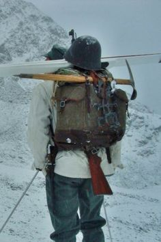 Vintage Swiss Army canvas & leather mountain rucksack, with rifle, ice axe, crampons Hiking Gear, Camping Gear, Backpack Camping, Outdoor Survival Gear, Outdoor Gear, Swiss Army Backpack, Army Rucksack, Beach Camping Tips, Vintage Backpacks