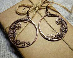 Handcrafted hoop earrings Handmade hoop earrings Wire wrapped earrings Minimalist earrings Handmade earrings OOAK jewelry Boho style