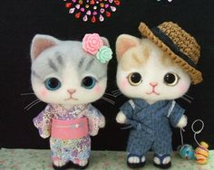Needle felted cats - completely adorable!