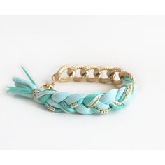 Mint bracelet with chunky chain, mint bohemian braided bracelet,... ($15) ❤ liked on Polyvore featuring jewelry, bracelets, mint jewelry, stackable bracelet, boho style jewelry, bracelet jewelry and boho bracelet