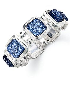 6f595f180 Charter Club Silver-Tone Square Navy Crushed Crystal Stretch & Reviews -  Fashion Jewelry - Jewelry & Watches - Macy's