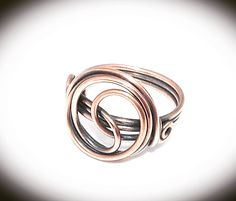 Wire wrapped ring. Copper wire ring. Wire jewelry. Copper wire ring. Infinity ring.  Copper ring. by JCLwire on Etsy