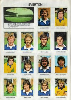 Everton team stickers for 1975.
