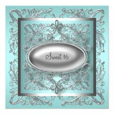 Silver White Teal Blue Sweet 16 Birthday Party Personalized Announcement