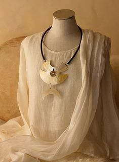 Large+Necklace:+Two+hand+cut+mother+of+pearl+pieces