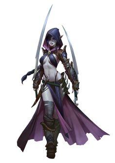 Dark elf assassin – fantasy character concept by Tooth Wu Dark Fantasy Art, Fantasy Kunst, Fantasy Women, Fantasy Rpg, Fantasy Girl, Fantasy Artwork, Anime Fantasy, Female Character Design, Game Character