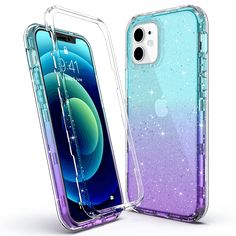 M-series Bling Sparkle Clear Gradient Color Case for iPhone 12 - Purple