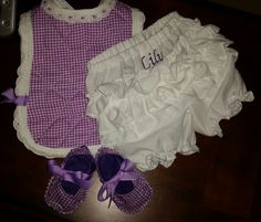 Ruffled Diaper Covers, Bib, and shoes with name and initial....