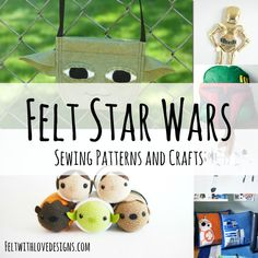 The ultimate list of felt Star Wars sewing patterns and crafts. Lots of free patterns and tutorials perfect for a Star Wars party or for Star Wars day! Theme Star Wars, Star Wars Party, Star Wars Crafts, Star Wars Toys, Felt Diy, Felt Crafts, Star Wars Christmas Ornaments, Felt Board Patterns, Star Wars Advent Calendar
