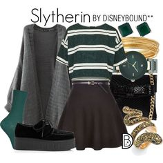 Slytherin by leslieakay Mode Harry Potter, Slytherin Harry Potter, Harry Potter Cosplay, Harry Potter Style, Harry Potter Outfits, Slytherin Pride, Harry Potter Fashion, Casual Cosplay, Slytherin Clothes