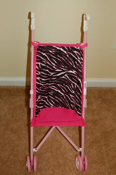 Hot Pink Zebra Doll Stroller Seat - pinned by pin4etsy.com
