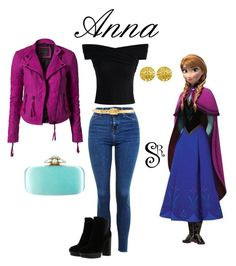 """""""Disney's Frozen- Anna"""" by styledright ❤ liked on Polyvore featuring Disney, Topshop, Chicwish, Y.A.S, Hogan, Chanel, Alexander McQueen and Oscar de la Renta"""