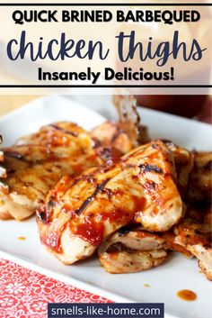 Quick brined barbecued chicken thighs: Brining chicken helps to tenderize the meat and unlike many brining recipes, this quick method doesn't require more than 6 hours. Barbecue Chicken, Brining Chicken, Rib Recipes, Chicken Recipes, Bacon Ranch Potatoes, Ribs On Grill, Quick Weeknight Dinners, Chicken And Dumplings, One Pot Meals