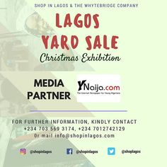 We are glad to annouce that @ynaija_online as part of our media partners for the #LagosYardSale Christmas Discount Exhibition . More Announcements to come!!!! ----------------------------- 30% off as Early Bird Registration. Grow your customer base showcase your new arrivals & generate tons of profit by selling as a vendor  To reserve a stall; Call 2347035693174 07012742129 or mail info@shopinlagos.com  #Shopinlagos #BuyNigerian #supportinglocalentrepreneurs