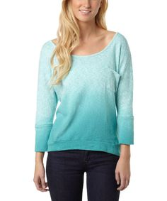 Look at this Baltic Blue Ombré Dark Wave Scoop Neck Sweater on #zulily today!