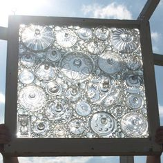 All made from orphaned glass lids.    Stained Glass Mosaic Repurposed Window Don't Flip by ARTfulSalvage, $450.00
