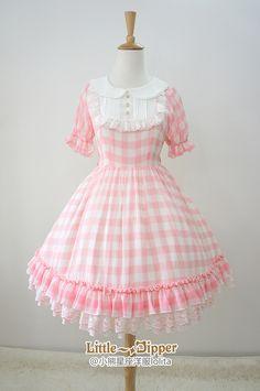 Little Dipper -Sweet Summer Dream- Gingham Chiffon Lolita OP Dress Harajuku Fashion, Kawaii Fashion, Lolita Fashion, Cute Fashion, Girl Fashion, Fashion Dresses, Cute Dresses, Short Dresses, Girls Dresses