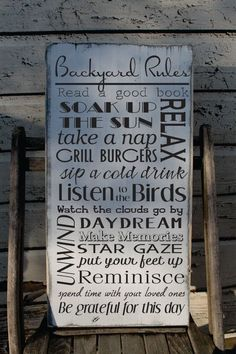 Backyard rules sign custom to your yard and your happy rules. HOW TO ORDER- Select the proper drop down- NOTE AT CHECK OUT IN NOTES TO SELLER BOX Background Color(color chart in pictures) Text Color Custom lines- Please LIST your names/dates/saying changes. SIGN INFORMATION This sign is